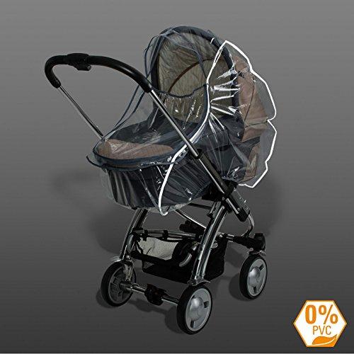 Diago 30003.75340 Premium Protection de pluie pour poussette avec bandes réfléchissantes, transparent