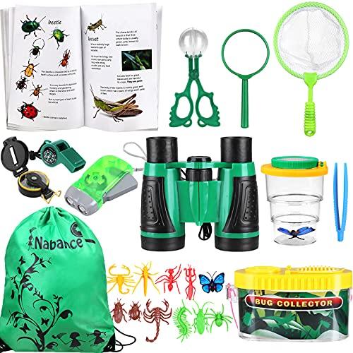Nabance Kit Explorador para Niños, 24 Piezas Juguetes de Exploración con Binoculares, Caja de Observación con Lupa, Linterna, Brújula, Insectos Simulados, Bolsa de Almacenamiento, Manual de Insectos