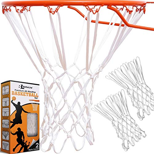 BETTERLINE 2-Pack Heavy Duty Basketball Nets | Premium Quality All-Weather Thick Nets | 2 White Basketball Nets in Pack - for Indoor and Outdoor 12-Loop Hoop Rims