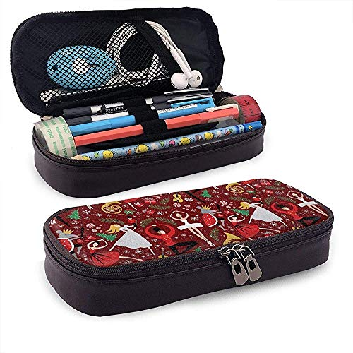 Nussknacker Ballet Red Med Federmäppchen PU-Leder Big Capacity Bleistiftbeutel Makeup Pen Pouch Durable Students Stationery