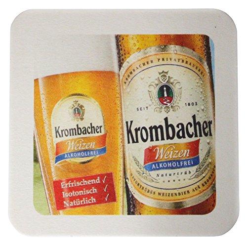 Krombacher Bierdeckel Pils Untersetzer Bier Glas Gläser Bierfilz Pappdeckel Party Bar Theke Tresen Deko Motiv Design (Weizen/Alkoholfrei)