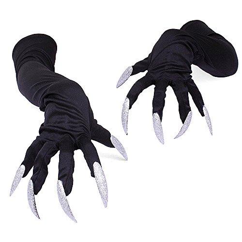 Himki Halloween Handschuhe Teufelhandschuhe mit Lange Fingernägel Krallen -Einheitsgröße