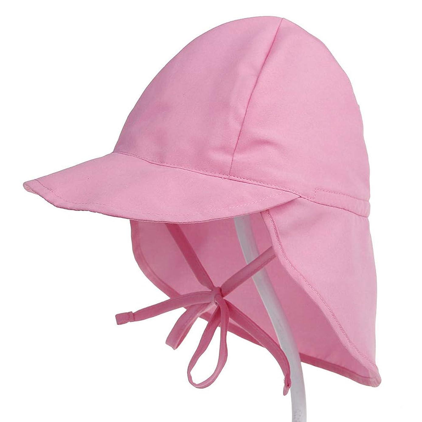 ミサイル決済汗无 夏の赤ちゃんの太陽の帽子子供屋外ネックイヤーカバーアンチuv保護ビーチキャップスイミングフラップキャップ3-18ヶ月の赤ちゃん