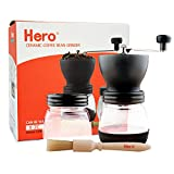 Hero Manual Coffee Grinder-Conical Ceramic Burr Mill,Adjustable Hand Precision Brewing, Black