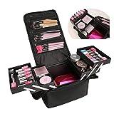 DSGYZQ Bolsa de Almacenamiento de cosméticos Profesionales Capacidad Grande del Bolso de múltiples Capas múltiples Funciones Maleta portátil,Negro