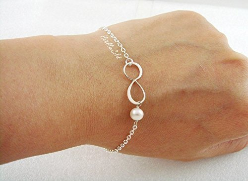 Infinity Pearl Bracelet, Custom Birthstone Bracelet, Silver or Gold Pearl Jewelry, Bridesmaids Bracelet, Best Friend, Mother Sister Jewelry