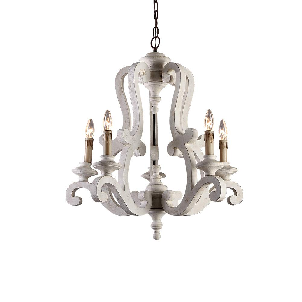 Lovedima Cottage Style Distressed Wood 5 Light Candelabra Chandelier with Scrolled Arms & Rust Canopy (Distressed White)