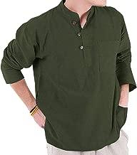 Taoliyuan Mens Henley Shirts Long Sleeve Casual Loose Fit Mandarin Collar Chinese Style Summer Beach Shirt
