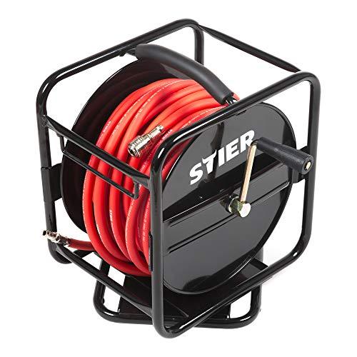 STIER Druckluft Schlauchtrommel, Druckluftschlauch SBT-30, max. Druck 20 bar, Ø 8 mm, ausziehbare Länge 30 m, einfaches Aufwickeln