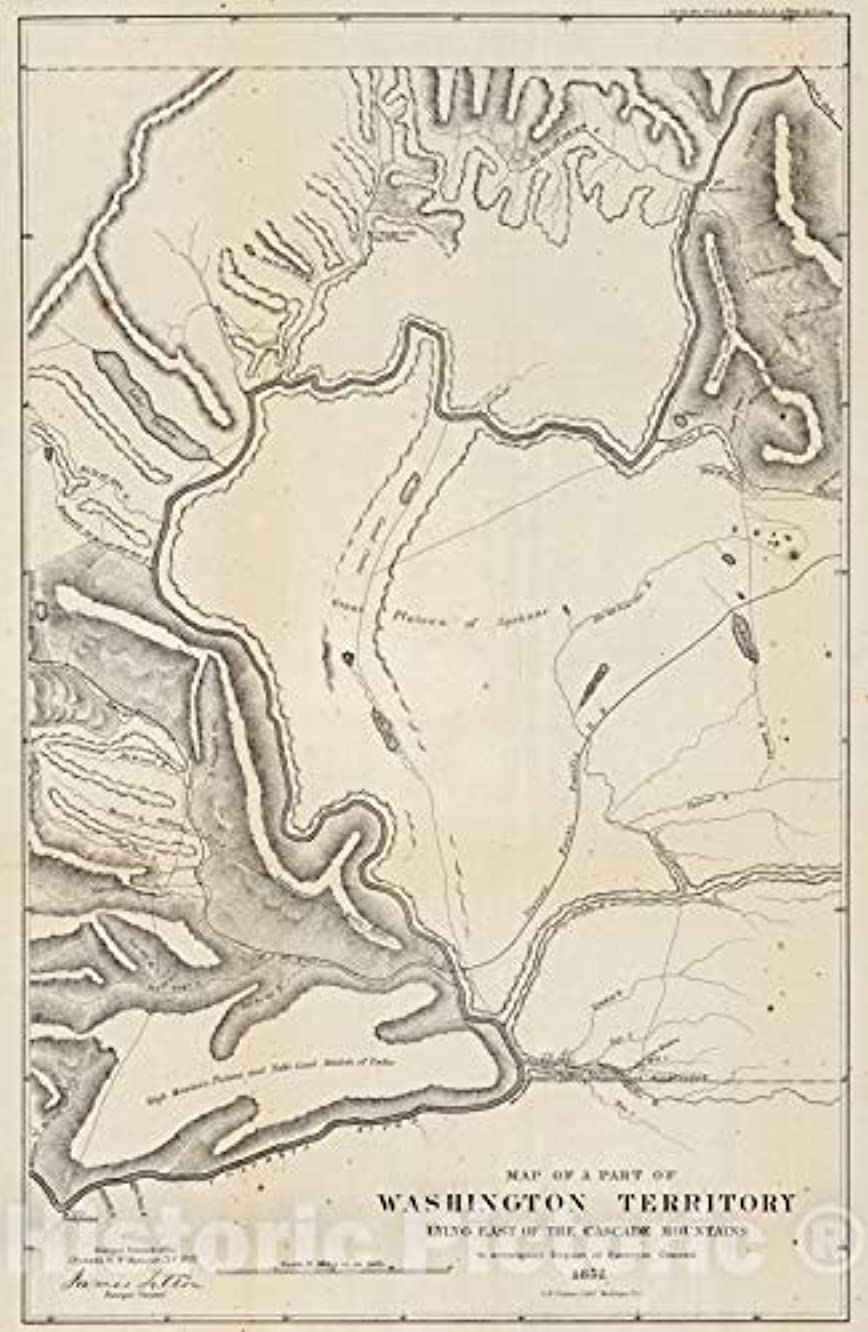 Historic Map | Map of a Part of the Territory of Washington East of Cascade Mountains,1857 | Vintage Wall Art | 44in x 68in