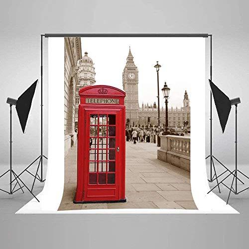 HD Gran Bretaña Londres Cabina telefónica roja Foto Fondo 5X7ft Inglaterra Big Ben Toalla y fotografía callejera Telón de Fondo Fiesta Telones de Fondo 005