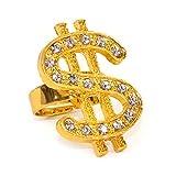 Oblique Unique® Dollar Ring Gold mit Edelsteinen Einheitsgröße verstellbar Kunst Schmuck für...