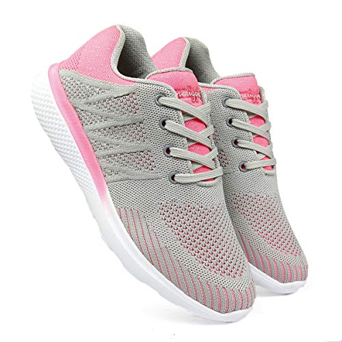 meriggiare® Women Fashion Breathable Sneakers Lightweight Sport Gym Fitness Workout Jogging Walking Memory Foam Air Athletic Tennis Running Sports Shoes- Grey & Pink