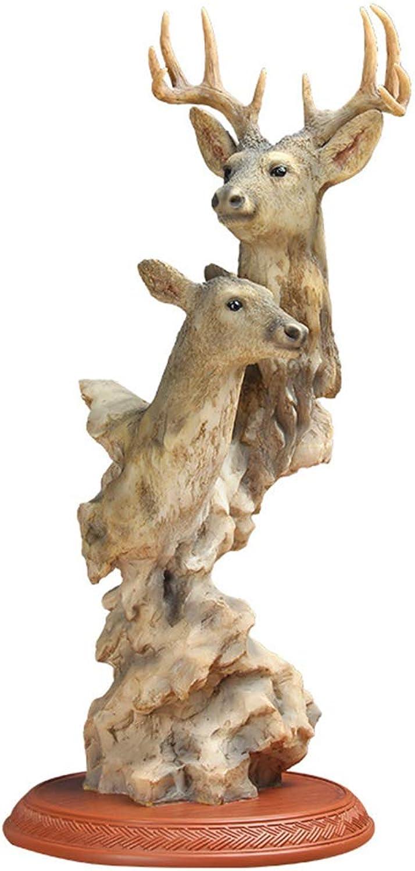 comprar mejor LJSHU Escultura Animal Moderno Minimalista Abstracto Abstracto Abstracto Doble Cabeza Ciervo Arte Sala Dormitorio TV gabinete decoración del hogar  ofrecemos varias marcas famosas