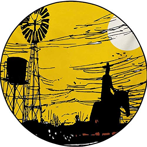 Windmill Polyester Geometric Pattern Rug Kids Crawling Mats Child Activity Round Carpet Australian Outback Inspired Artwork Cowboy on Horse at Sunset Earth Yellow Black and White 2.9 ft in Diameter