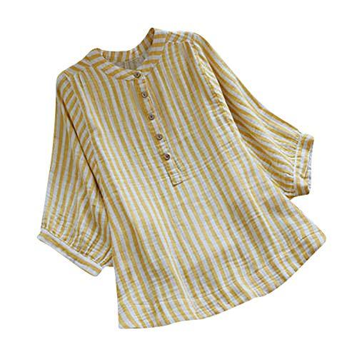 Vrouwen meisjes pullover lange mouwen T-shirt blouse tops gestreepte losse tuniek button-down-lange mouwen linnen shirt FRAUIT trui jurk sweater bovenstuk oversized sweatshirt