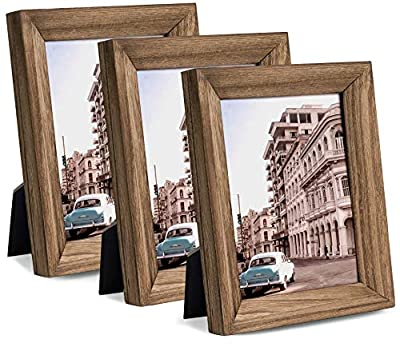 eletecpro Rustic Brown Picture Frames 4x6 Made of Solid Wood Set of 3 with High Definition Glass Display for Tabletop or Wall Decor