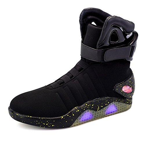 Green Hope-Rise Field Men' Fabric LED Flashing High-Top Shoes Light Up Sneakers DQBF95-Black-44