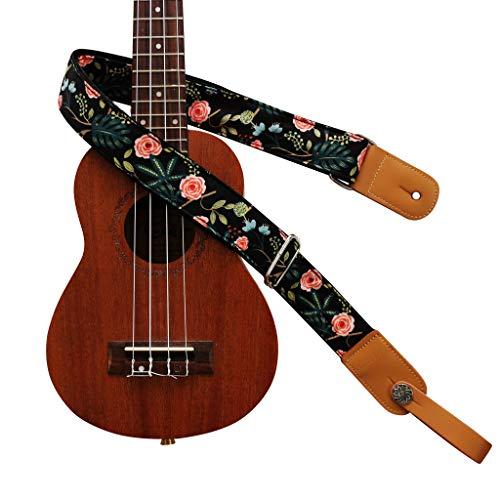 """MUSIC FIRST Original Design """"Dark Night Garden"""" Soft Cotton & Genuine Leather Ukulele Strap Ukulele Shoulder Strap With a MUSIC FIRST Genuine Leather Strap Locker"""