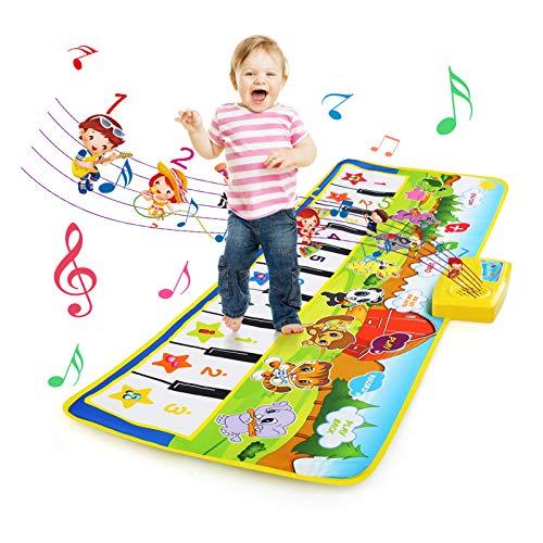 BelleStyle Piano Matte, Tanzmatten Musikmatte Kinder - 8 Instrumente mit 10 Klaviertasten Musik Matte Klaviertastatur Teppich Baby Spielmatte Spielzeug für 3-6 Jahre Alte Kinder (100*36 cm)
