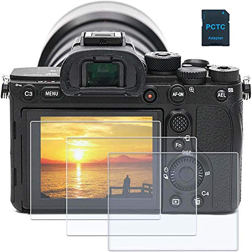 PCTC Tempered Glass LCD Screen Protector fit for Sony Alpha a7II A7III A7IV a7SII a7SIII a7RII a7RIII a7RIV RX100VII RX100VI RX100V RX100IV RX100III RX100II A9II,RX10III RX10IV,RX1R RX1RII(3 packs), 1* Macro SD/TF Card Adater