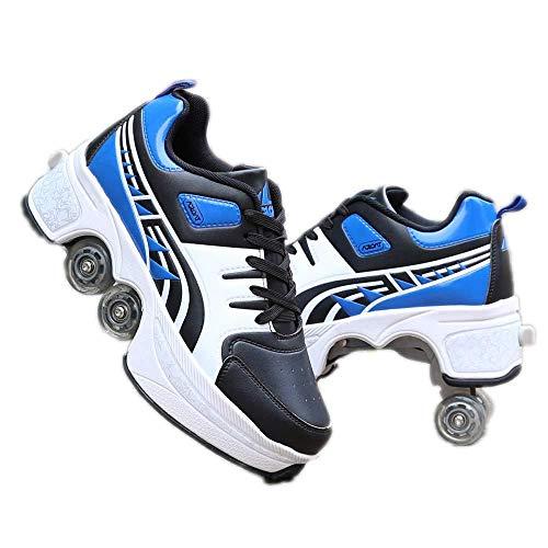 AXYQ Inline Skate, Verstellbare Quad Roller Skates Stiefel, 2-in-1 Mehrzweckschuhe,Blue-40