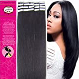 16 Inch Color 1b-black with Brown Tape in Premium Remy Human Hair Extensions_20 Pieces Set_30g Weight Straight Women Beauty Salon Style Design by lilu
