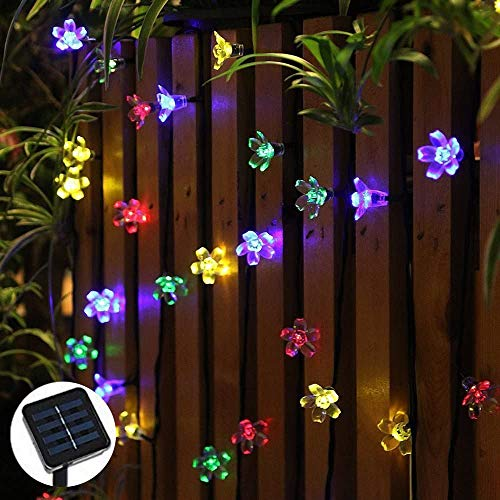 Solar LED Flower String Lights – 21ft, 50 LED Bulbs – Multi-Color Waterproof Fairy Blossom Lights for Indoor and Outdoor, Tree Decor, Fence, Festival, Party & Holiday Decorations, Easy Installation!