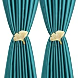 YING CHIC YYC 1Pair Creative Ginkgo Leaf Curtain Tiebacks Magnetic Beautiful Leaves Curtain Buckle Elegant Room Curtain Decoration (Light Gold)