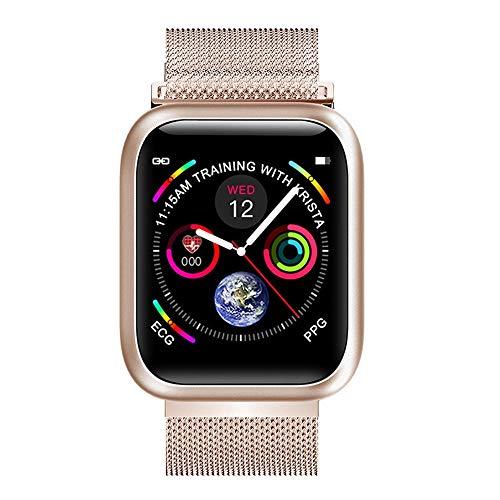WuMei101 Monitor de actividad física, visor meteorológico, rastreador de ejercicios, podómetro, reloj podómetro, contador de calorías, reloj inteligente ultradelgado (color: dorado)