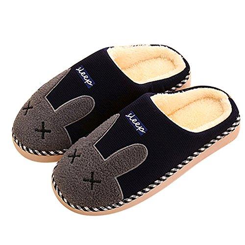 SAGUARO Automne Hiver Pantoufles Coton Peluche Chaussons Doublure Intérieure Douce Mules Femme Homme Accueil Slippers Chaussures, 41/42 EU=42/43 CN Bleu
