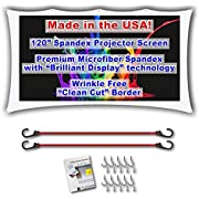 "120"" inch Portable Spandex Projector Screen. Complete Kit Includes 5'x9' Stretch Fabric Material & Hardware for Indoor or Outdoor Back Yard Movie Screen use. 3D DLP Ready with Both Front & Rear Projection Capability (unlike Blackout Cloth)"