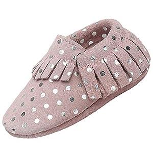 Zapatos de Bebé Suave Cómodo Zapatos para Bebé Niño Ligero Flexible Pantuflas para Interiores Al Aire Libre Primeros Caminantes, Borla Beige 12-18 Meses