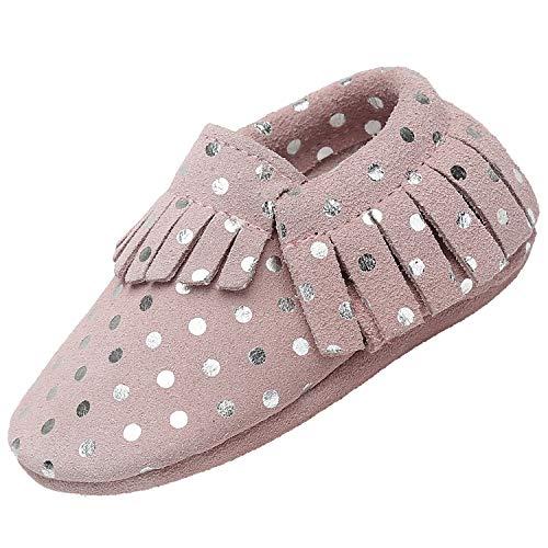 Zapatos de Bebé Suave Cómodo Zapatos para Bebé Niño Ligero Flexible Pantuflas para Interiores Al Aire Libre Primeros Caminantes, Borla Beige 18-24 Meses