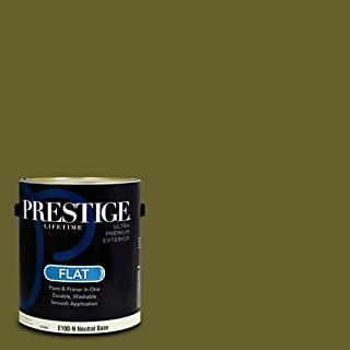 Prestige Paints E100-N-SW6419 Exterior Paint and Primer in One, 1-Gallon, Flat, Comparable Match of Sherwin Williams Saguaro, 1 Gallon, SW21-Saguaro