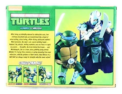Teenage Mutant Ninja Turtles Leonardo V Shredder Cartoon NECA Action Figure 2-Pack