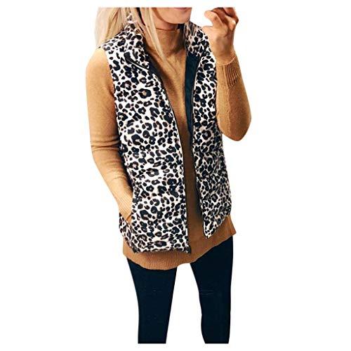 Damen Steppweste Leopard Weste mit Stehkragen Leichte ÄRmellos Jacke,Kanpola Herbst Winter Lose Outdoor Daunenweste
