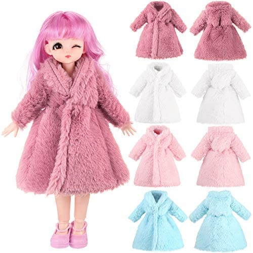 8 Pieces Multicolor Long Sleeve Faux Fur Coat for Doll Soft Imitated Fur Top Dress Outfit Doll product image