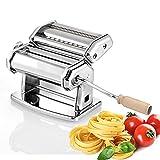 Household lamps Máquina de Pasta Manual - Pasta casera - lasaña (Ancho 150 mm), tagliolini (2 mm) y Fettuccine (6,5 mm) - Acero Cromado, Plata para Espagueti Fettuccini (Color : Machine)
