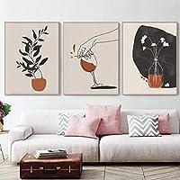 抽象絵画バンドル自由奔放に生きる家植物キャンバス壁アート北欧のポスターとプリント壁の写真リビングルーム50x70cmx3フレームレス