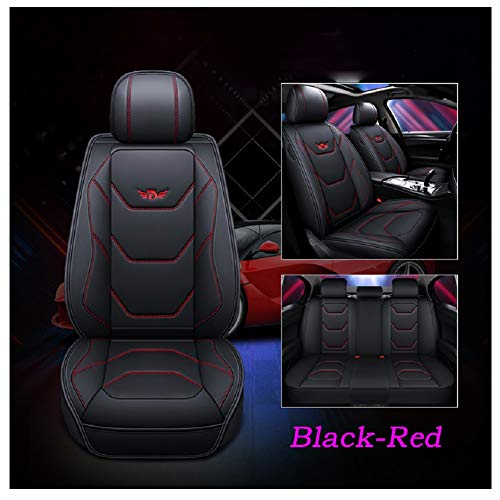 red and black seat covers leather - 9