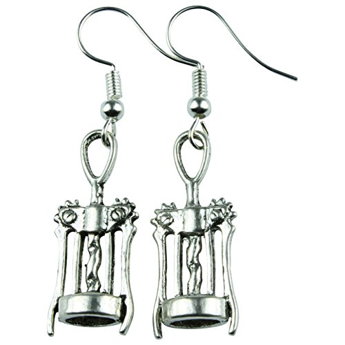The Funky Barcode WINE BAR CORKSCREW DANGLE EARRINGS Gift Box Available