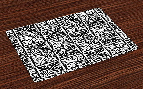 Mosaic Place Mats Set of 4, Retro Portuguese Azulejo Ceramic Tiles Style Boho Floral Ornament Dining Table Waterproof Table Mat Quick Drying Place Mats For Christmas