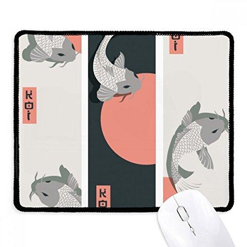 Chinese Japanese Fish Pattern Mousepad Stitched Edge Mat Rubber Gaming Pad