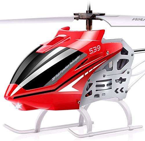 SYMA Ferngesteuerter Helikopter S39 RC Hubschrauber 3.5 Kanal 2.4 Ghz LED Leucht und Gyro-Technik Geschenk für Kinder Rot