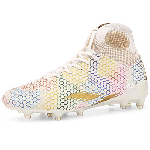 WELRUNG Men's AG Cleats Professional Long Studs Wear Resistant Football Training Athletic Soccer Shoes for Youth White 11 W/9.5 M US
