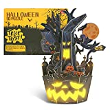 🎁Easily Assemble: Halloween 3D Puzzle included 33 pieces and EPS foam board; includes LED light. This puzzle is precut where each piece fits the corresponding piece without tools or glues. 🎁Easy Self-Assembly: The 3D puzzle pieces are a non-toxic pap...