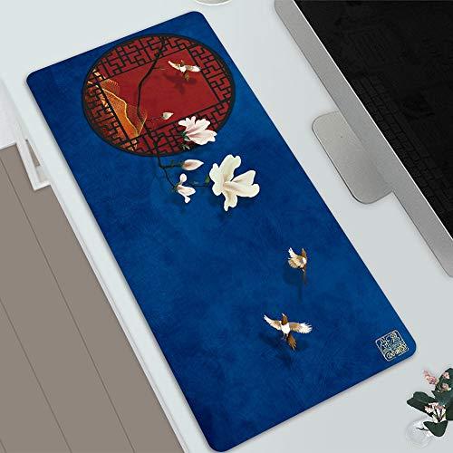 KaiWenLi Blauer Hintergrund mit roten Türen und Fenster Muster/Chinese Retro Mausunterlage/Maxi-Version/Wasserdicht, Anti-Rutsch, Anti-schmutzig/E-Sport, Spiele, Büro Sonder