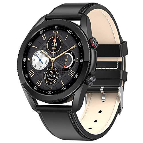 UIEMMY Smart Watch Men Android IP68 Bluetooth Call Smartwatch Android 2021 ECG Reloj Inteligente para Android iOS, Cuero Negro Negro