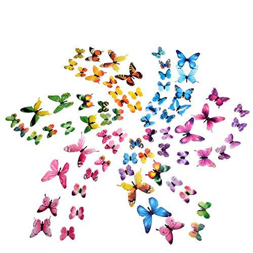 3D Schmetterling Aufkleber Wandsticker Luminous Wandaufkleber Wandtattoo Wanddeko für Dekoration - 72 Stück (12 Mehrfarbig + 12 Grün + 12 Rosa + 12 Gelb + 12 Lila + 12 Blau)